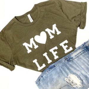 Mom Life Olive Green White Unisex Graphic T-Shirt